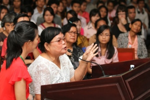 A survivor of forced marriage and rape speaks out at the Cambodia tribunal's 2013 Women's Hearing with the Young Generation, Beini Ye/ CDP